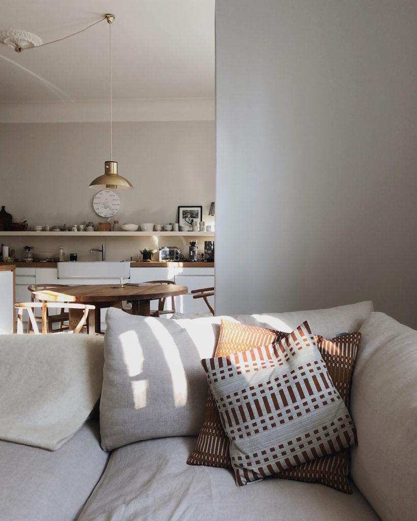 Print cushion covers on sofa