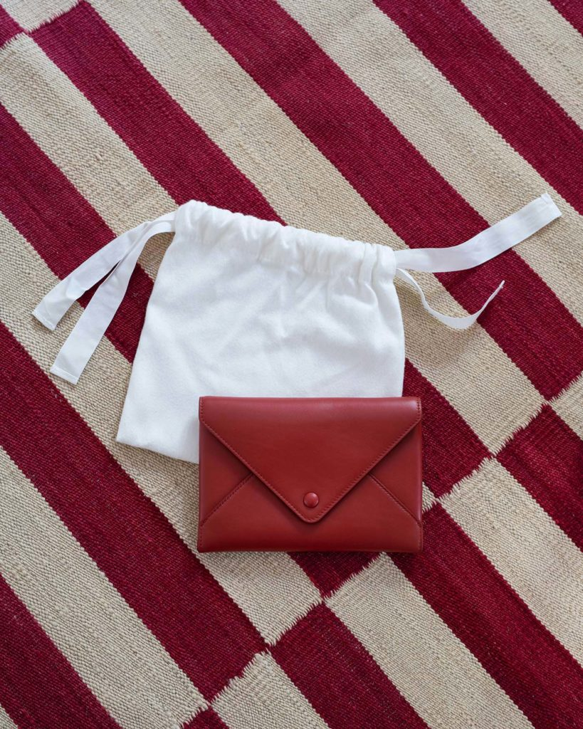 Red leather bag by The Row